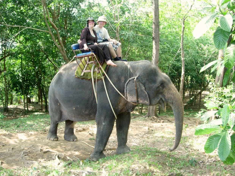 Paul and Sam on an elephant