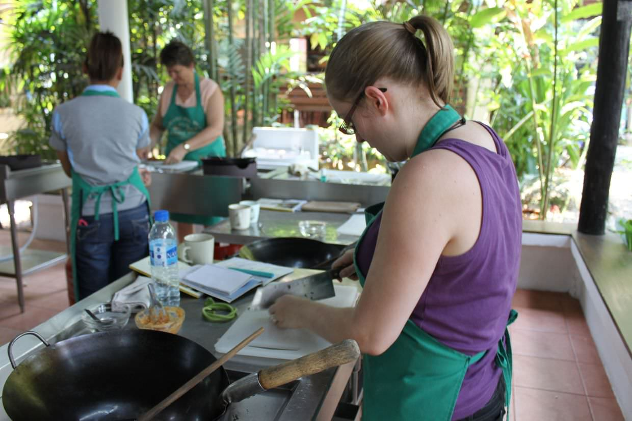 Cooking our first meal at Chiang Mai cooking school