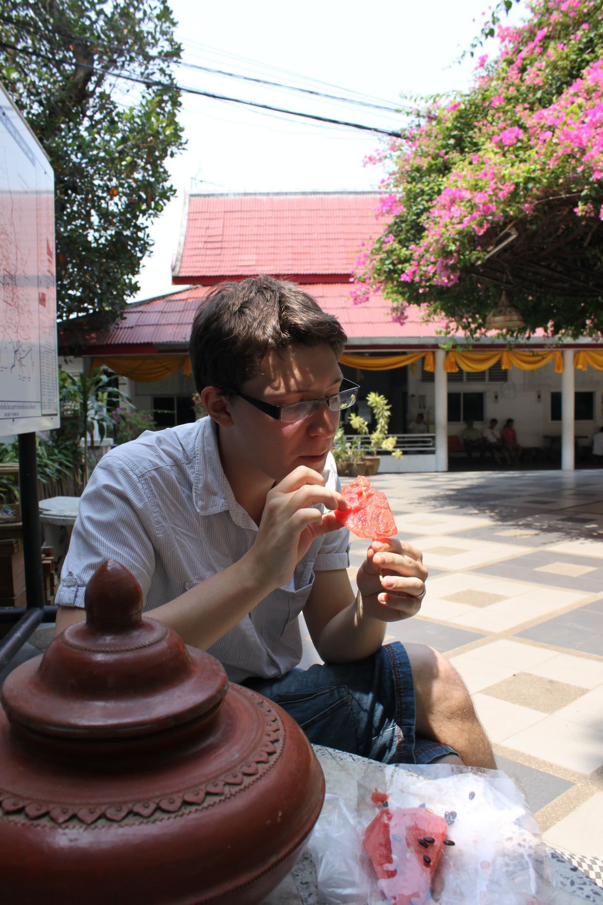 Paul eating watermelon at Doi Suthep