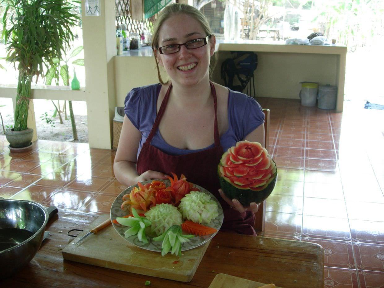 Samantha and her carved vegetables