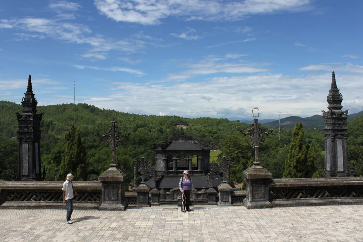 The view from Khai Dinh's mausoleum, with Samantha (and our guide)
