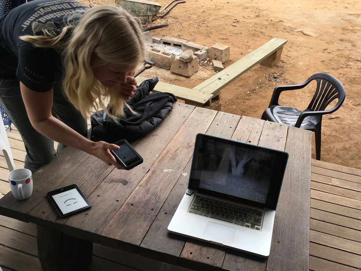 Christina checking out the cheetah cam videos
