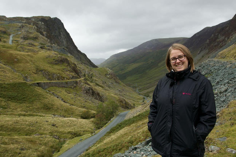 Samantha at Honister Pass