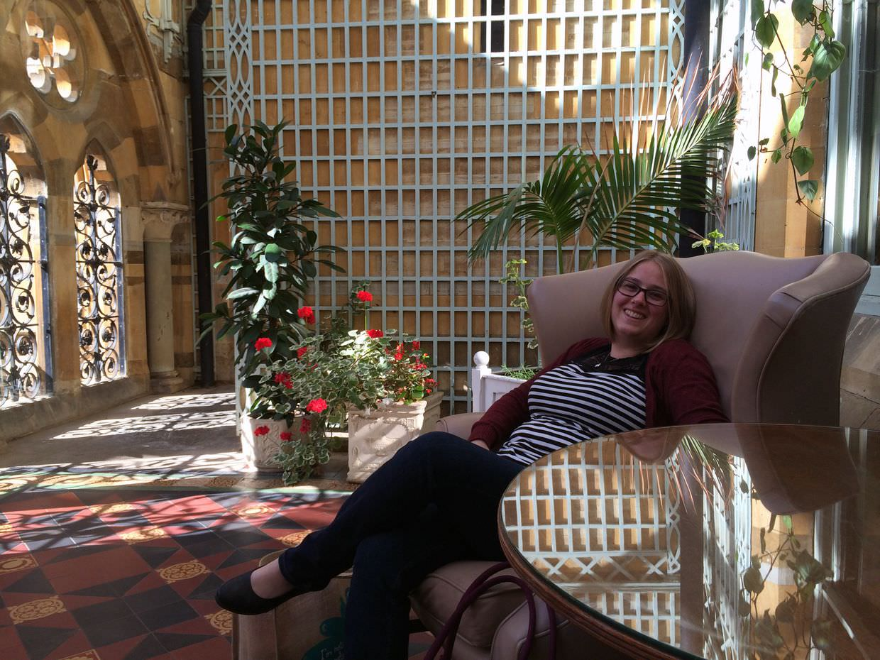 Samantha relaxing in the hotel conservatory just before we left for home