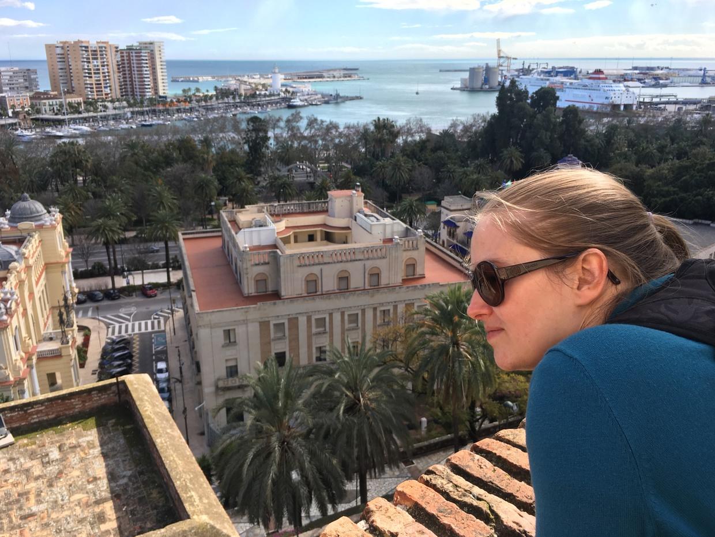 Samantha looking at the views from Alcazaba de Málaga
