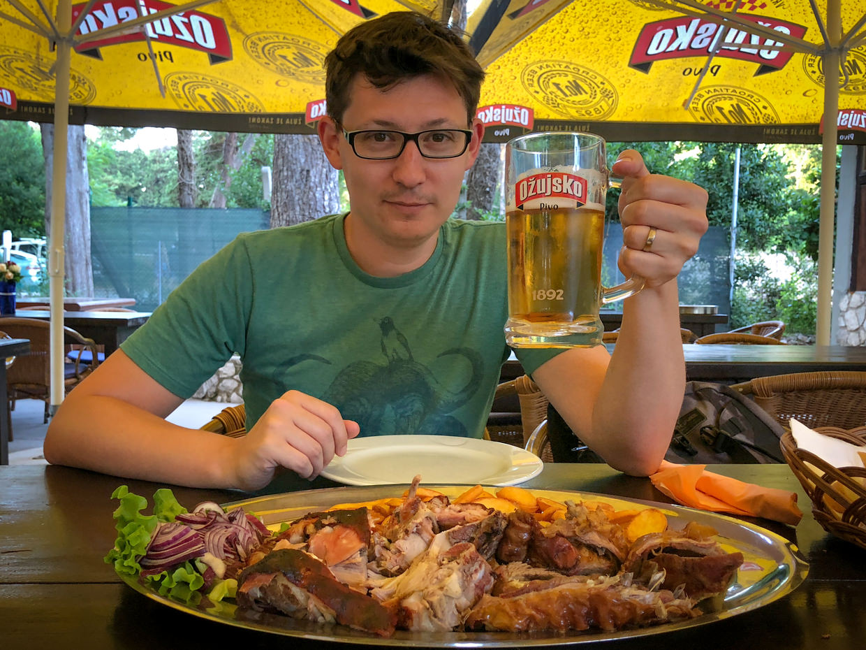 Paul with beer and our meet platter at Buffet Trojka