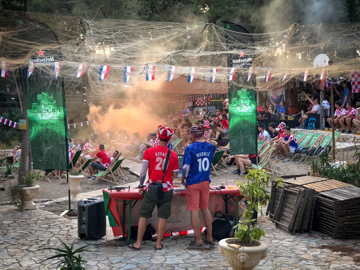Croatian football fans waiting for the game to begin