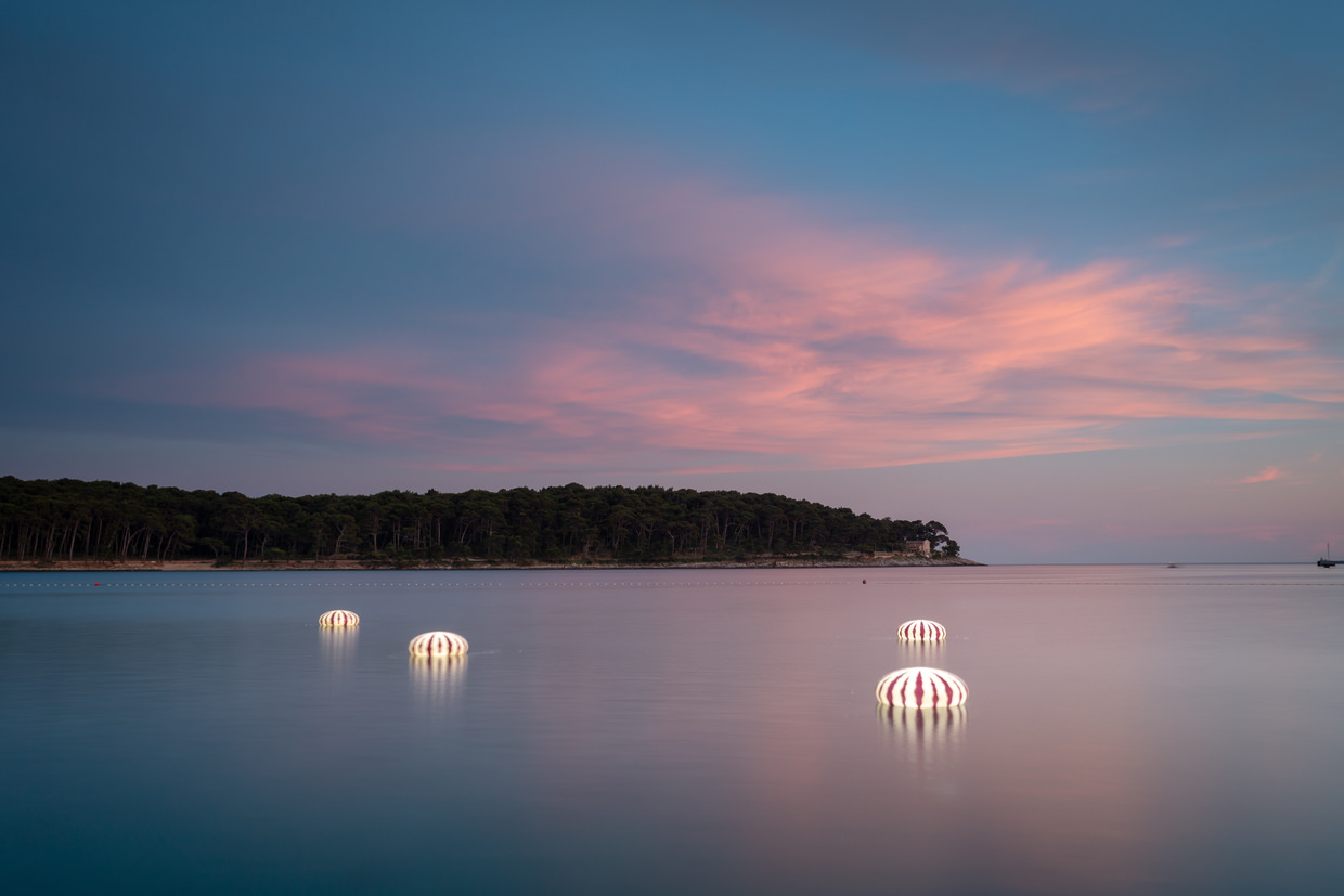 Jellyfish lights and sunset