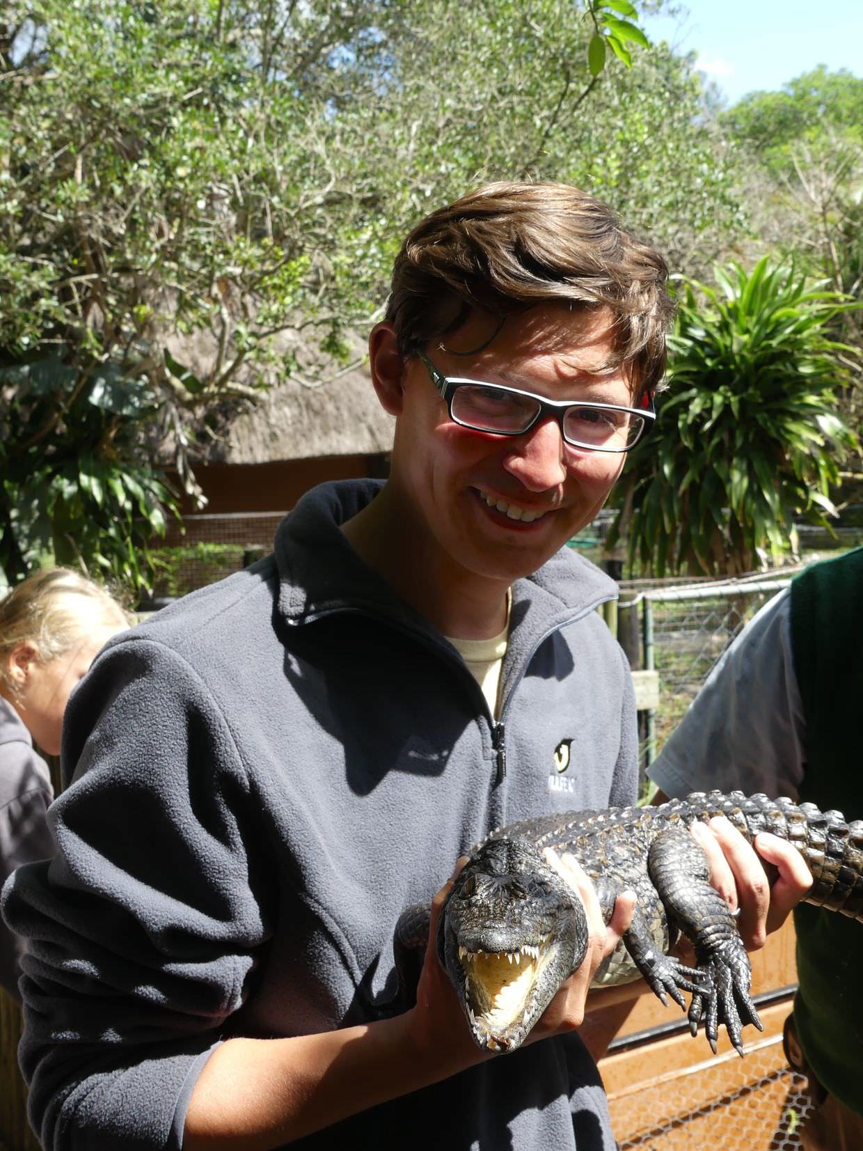 Me holding a crocodile
