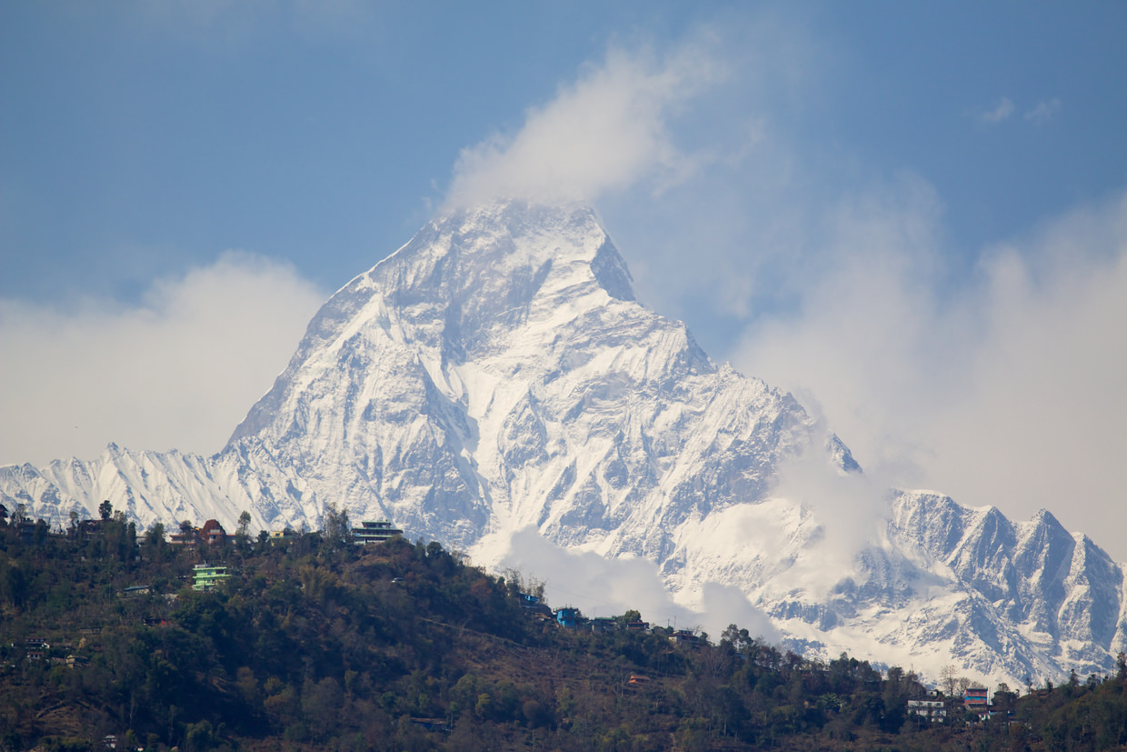 Fishtail peak as seen from Hotel Middle Path rooftop