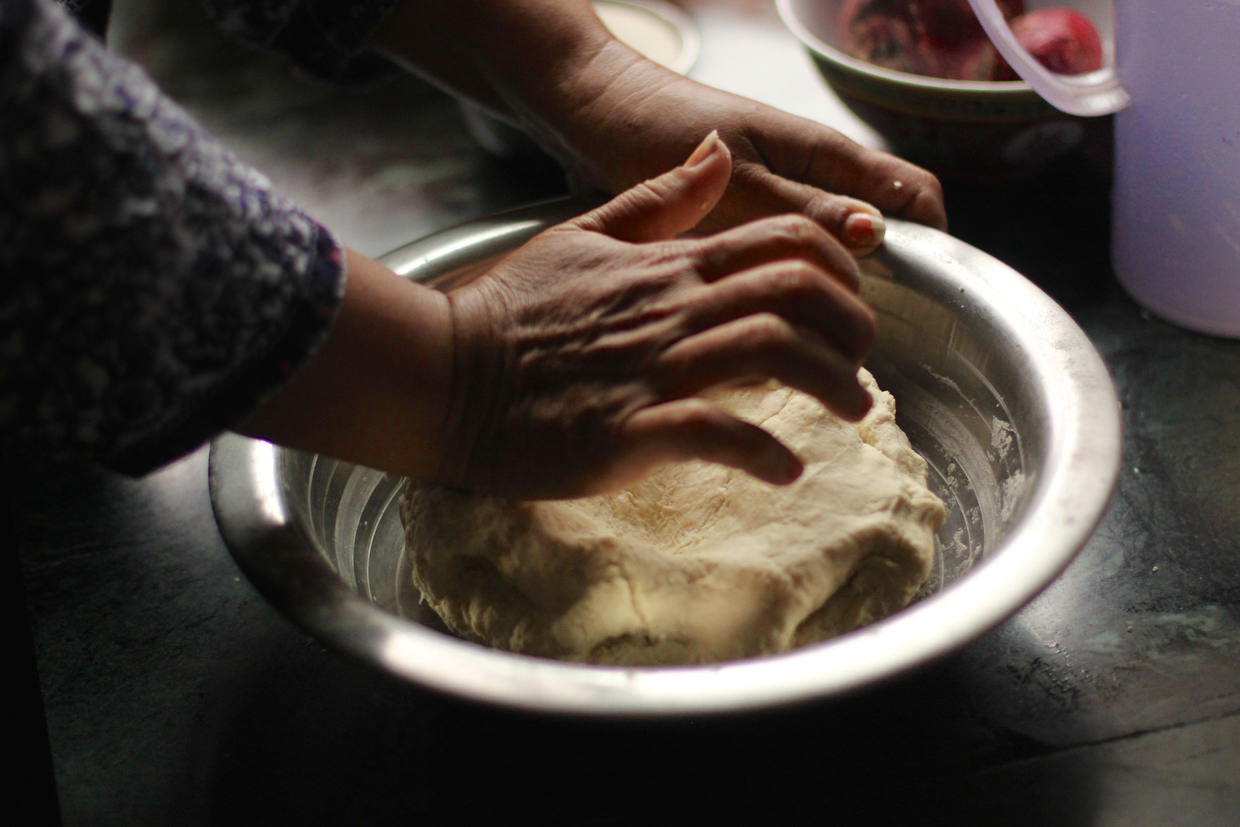 Kneading dough for momos