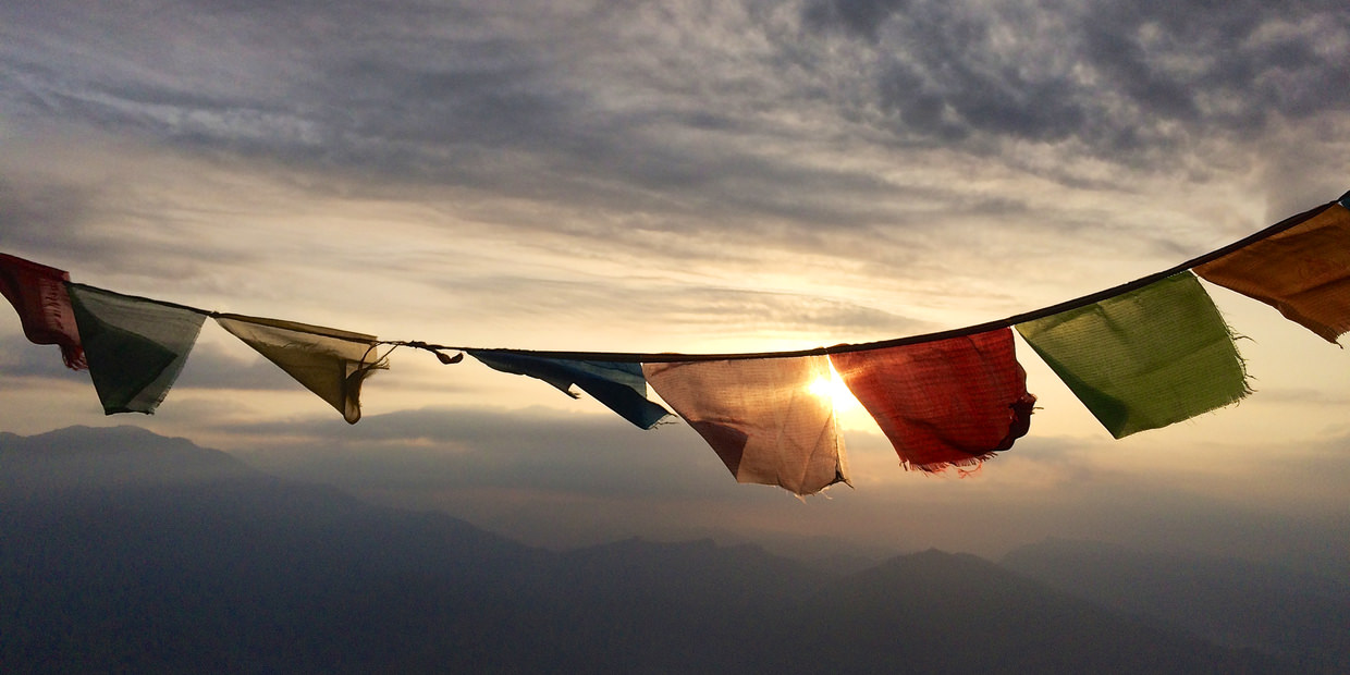 Prayer flags at dawn
