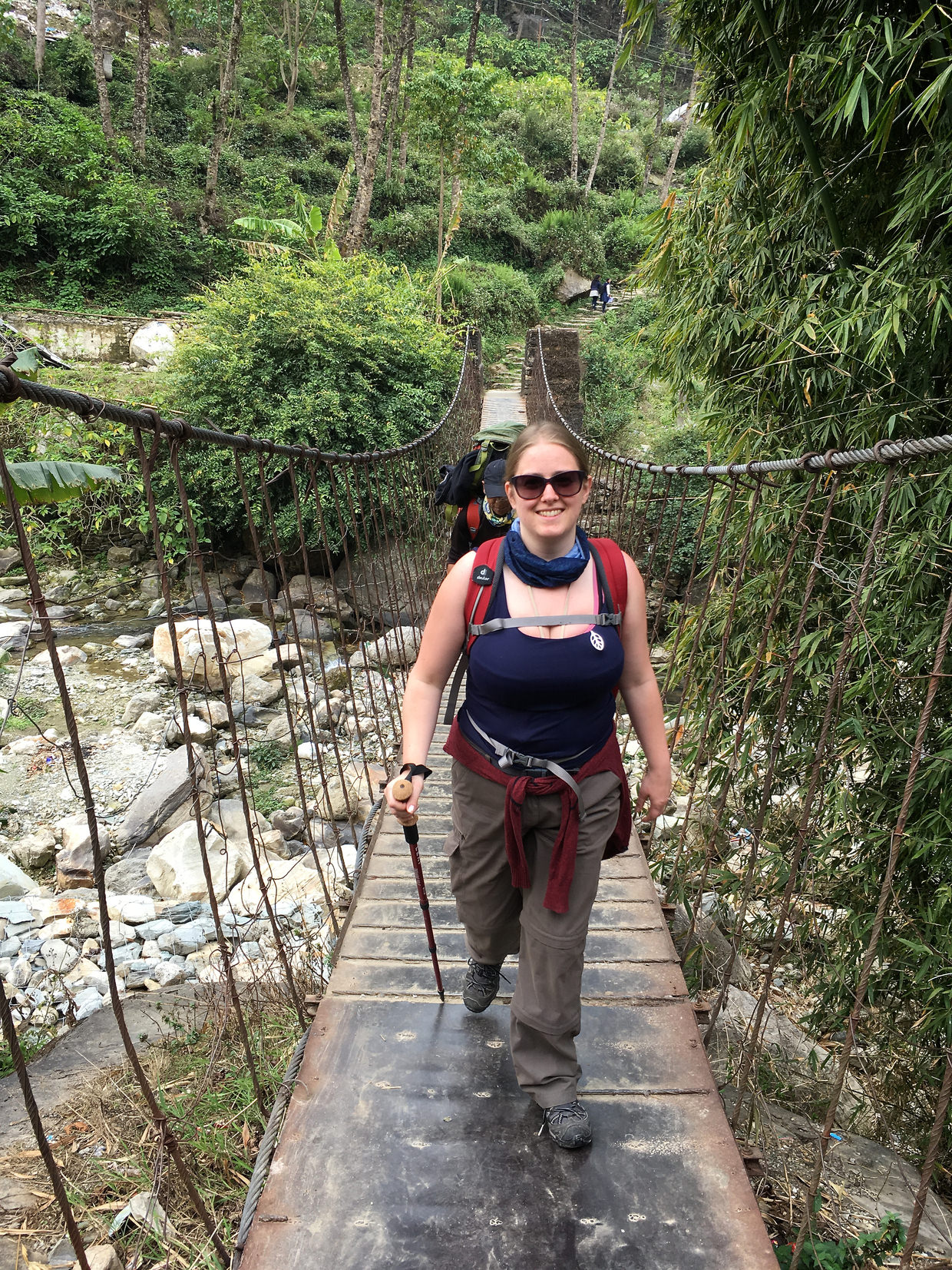 Samantha crossing the first bridge