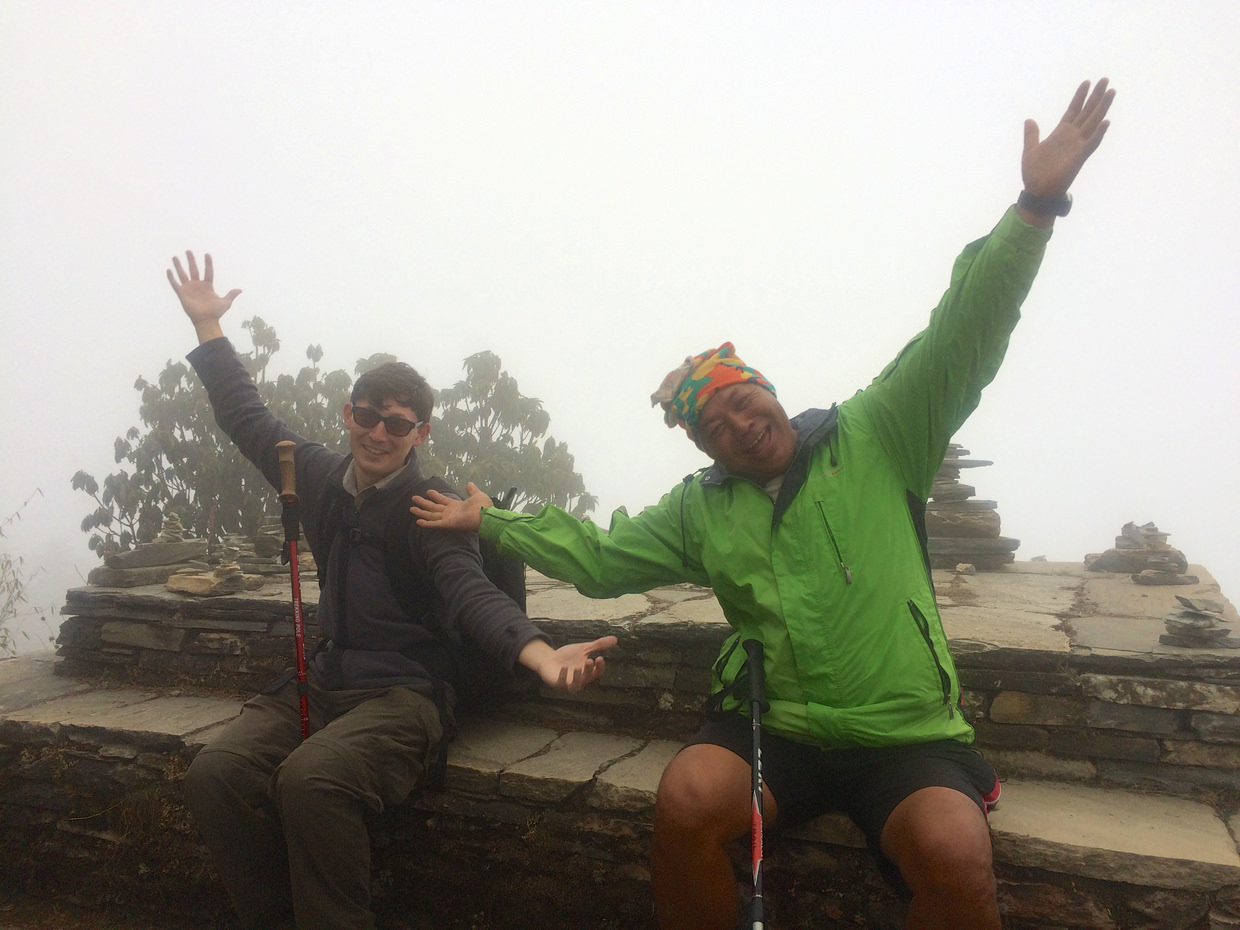 Climbing Poon Hill, still hopeful for views