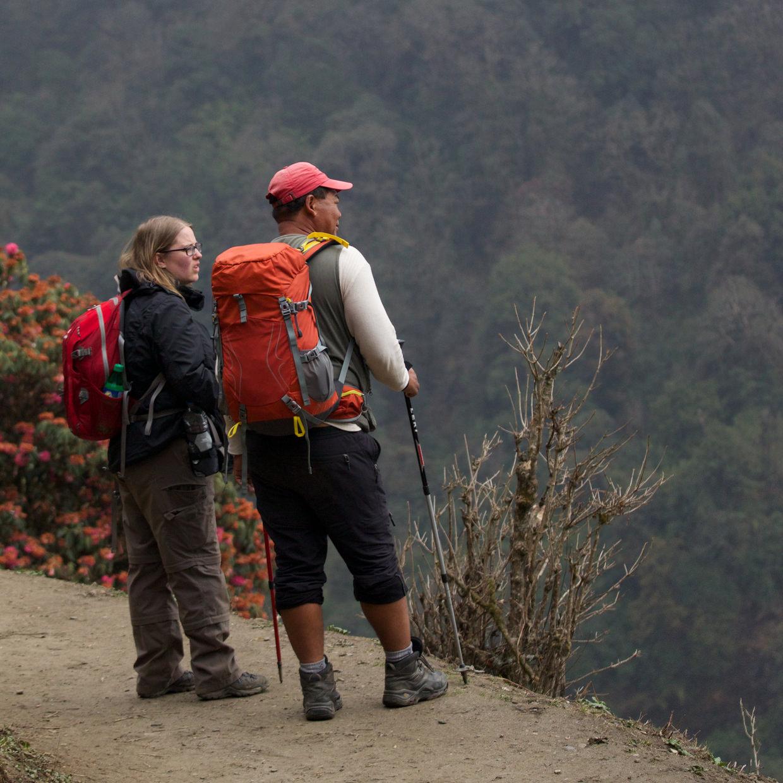 Samantha and Big D looking at the view