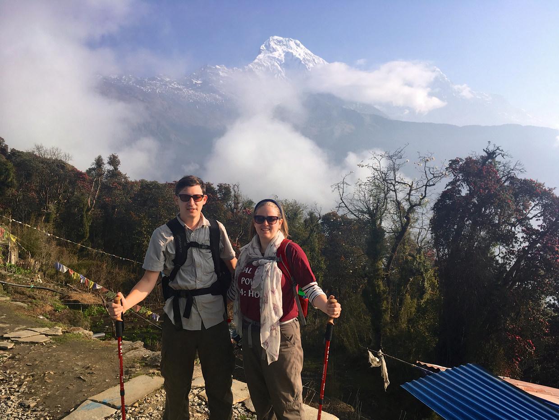 Samantha and Paul leaving Tadapani – Annapurna South behind us