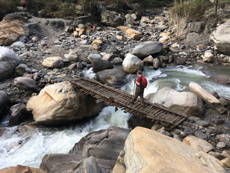 Samantha crossing Kimrong river