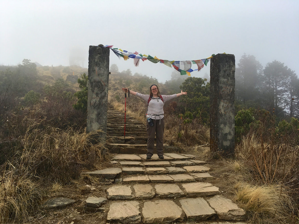 Samantha at the top of Poon Hill