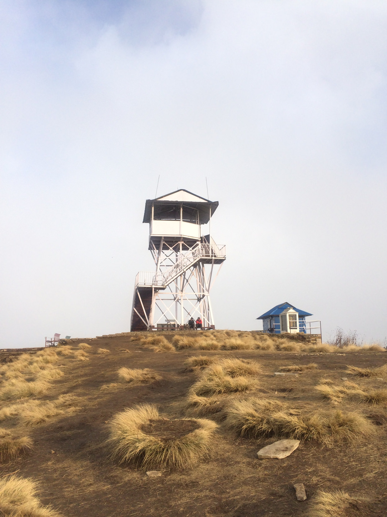Poon Hill viewing tower and a slither of blue sky