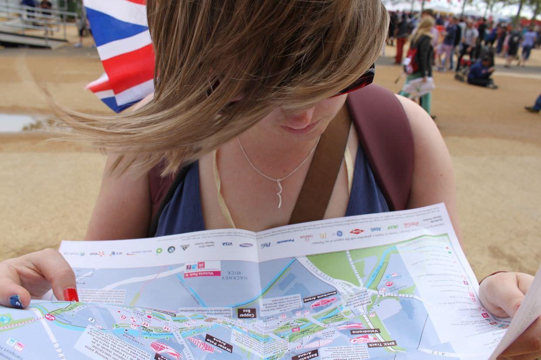 Samantha examining the map