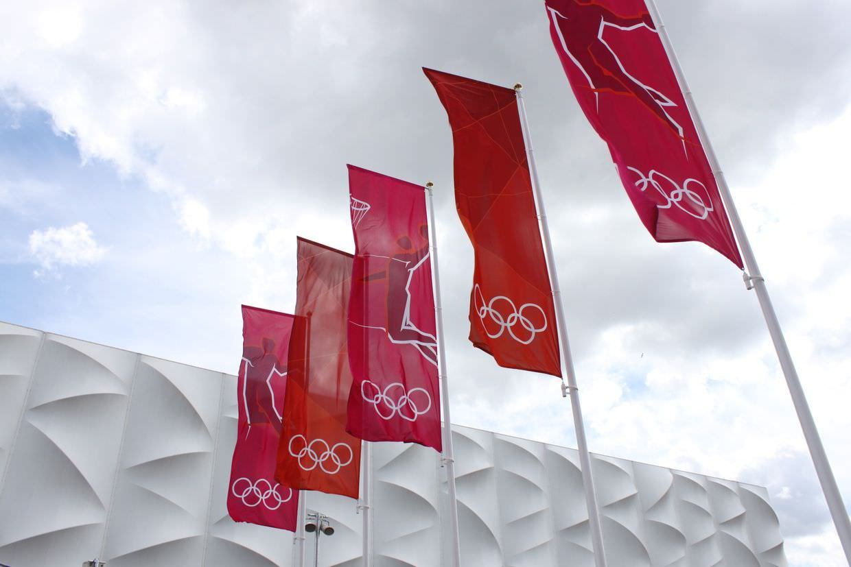 Olympic flags outside the basketball arena