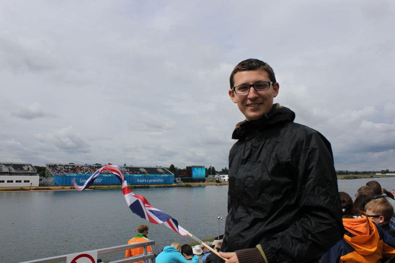 Paul supporting Team GB, in his waterproofs