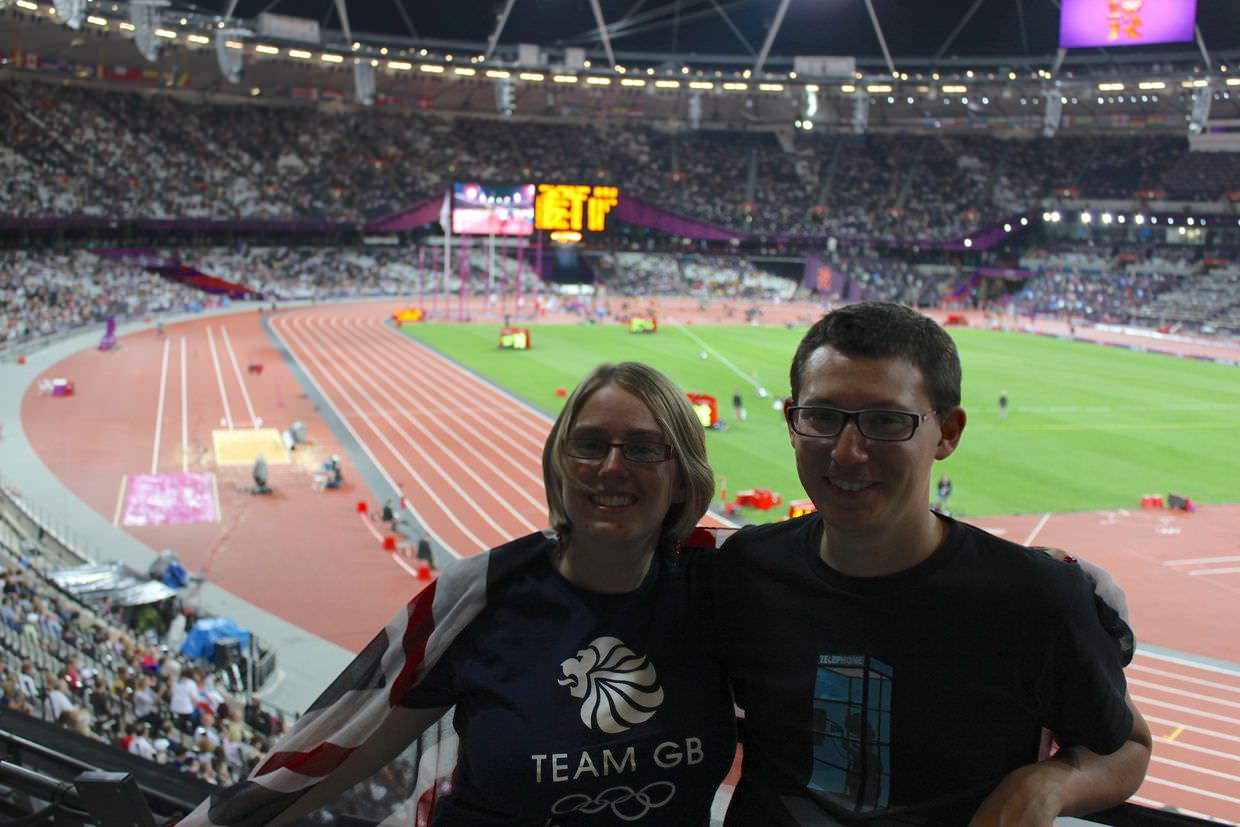 Sam and Paul in the olympic stadium