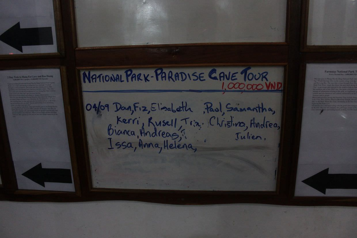 The tour boards at Phong Nha farmstay