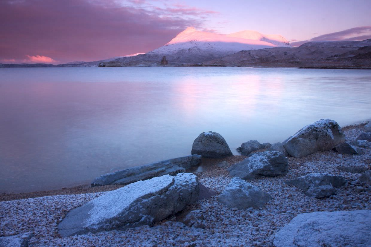 Looking out across the luminous Loch Assynt, by Samantha