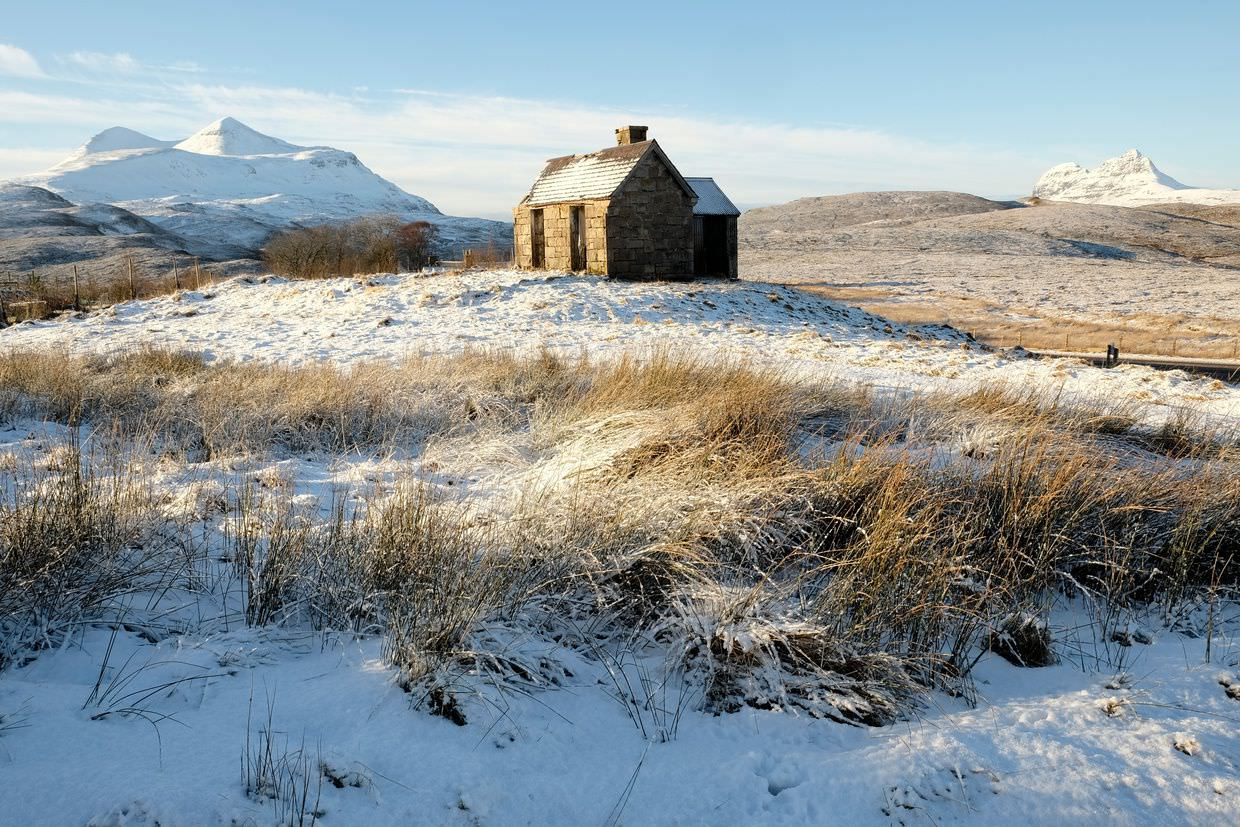 House, Cul Mor and Suilven, by Samantha