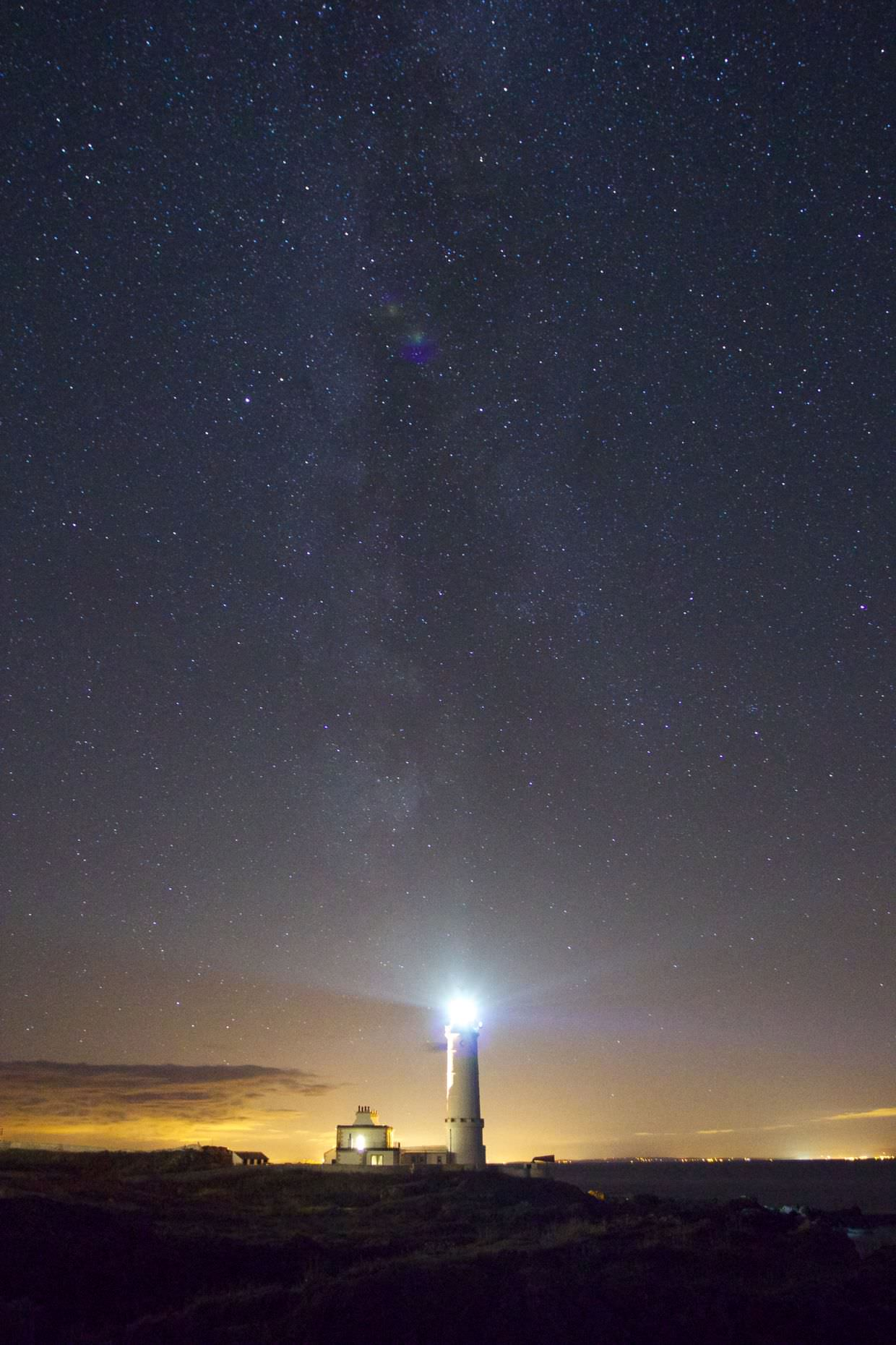 Corsewall Lighthouse, against the stars