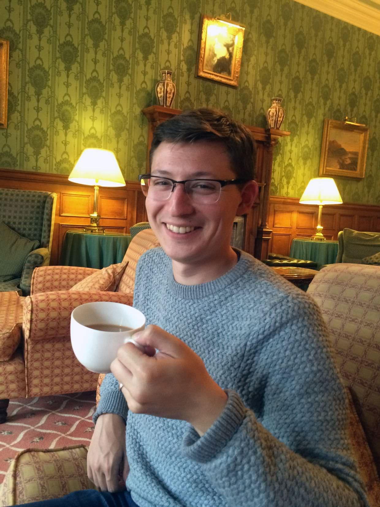 Paul enjoying tea at Kirroughtree