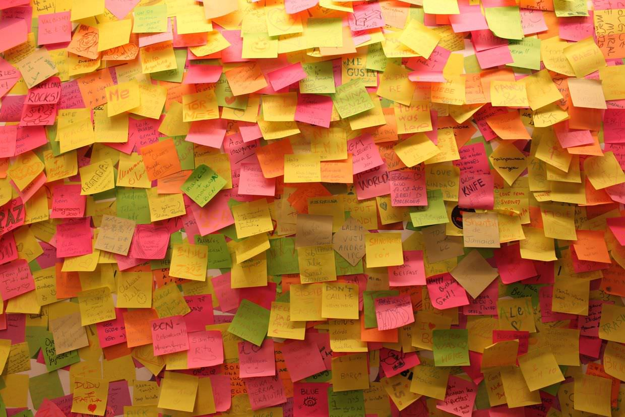 A wall of post-it notes at dHUB wallpaper exhibition