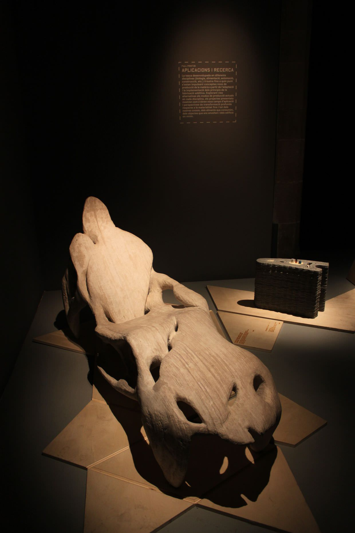 A comfortable looking 3D printed concrete chair