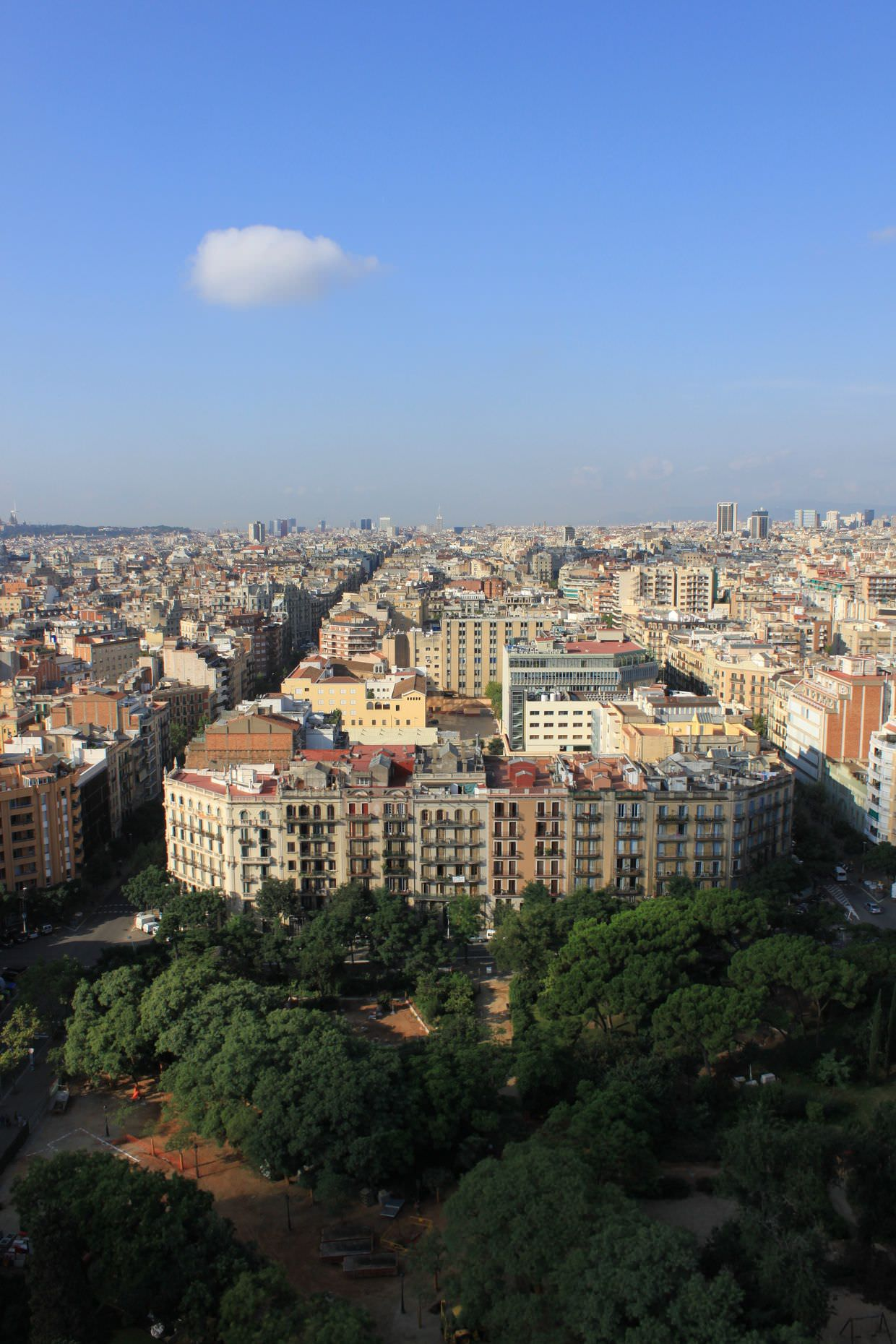 View of Barcelona, with a perfectly fluffy cloud