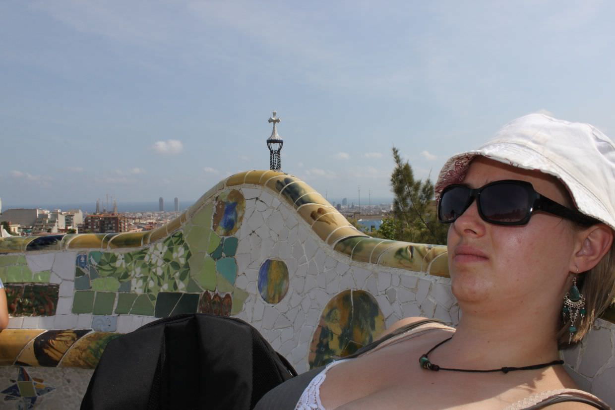 Reclining on Gaudí's ergnomic main terrace