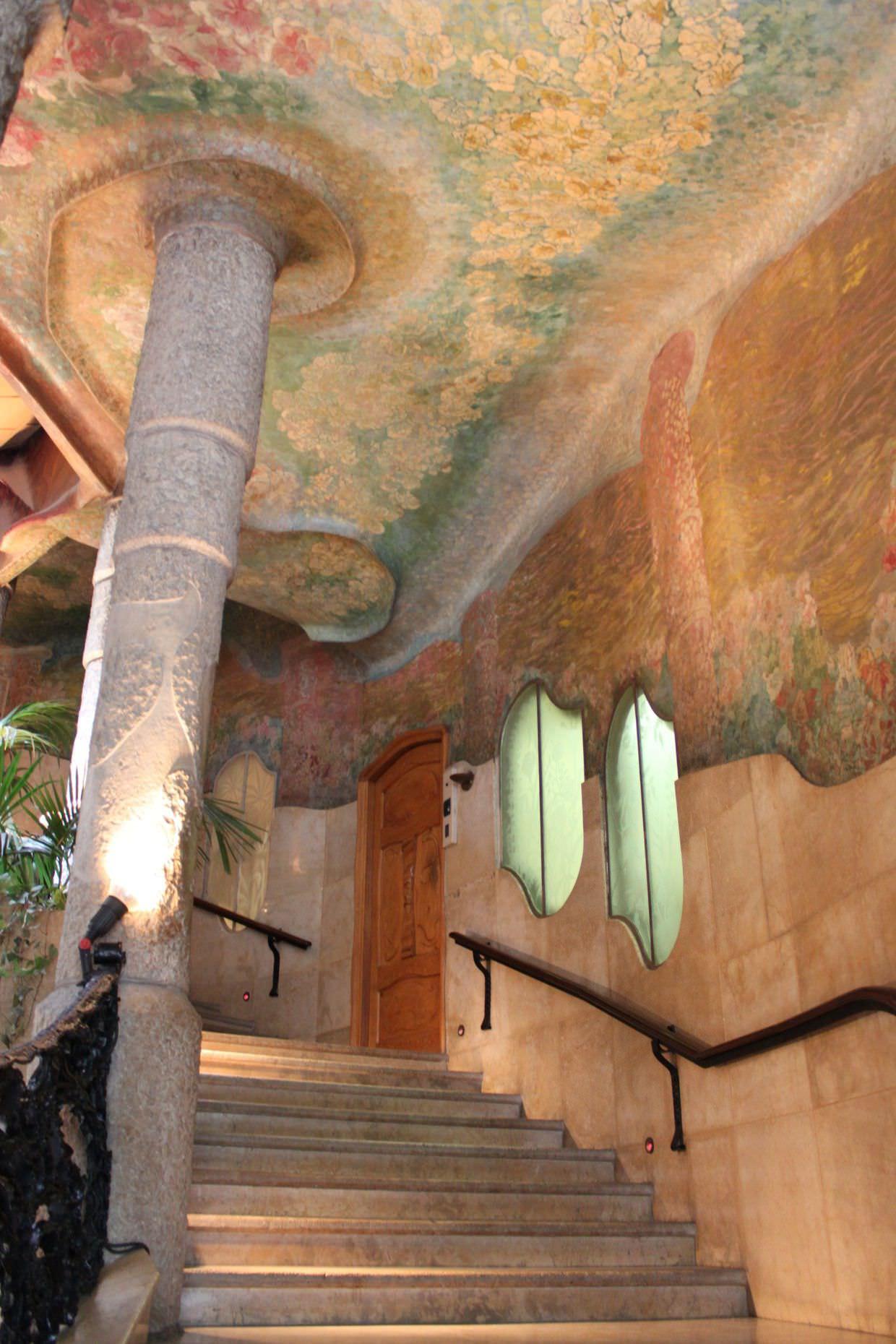 Colourful staircase near La Pedrera entrance
