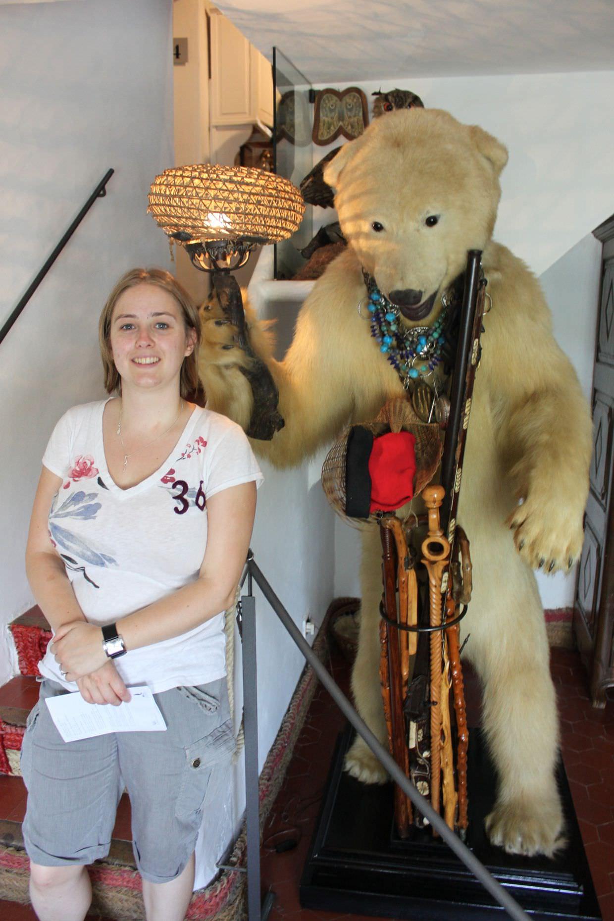 Samantha and a rifle wielding polar bear lamp, at Casa Dali