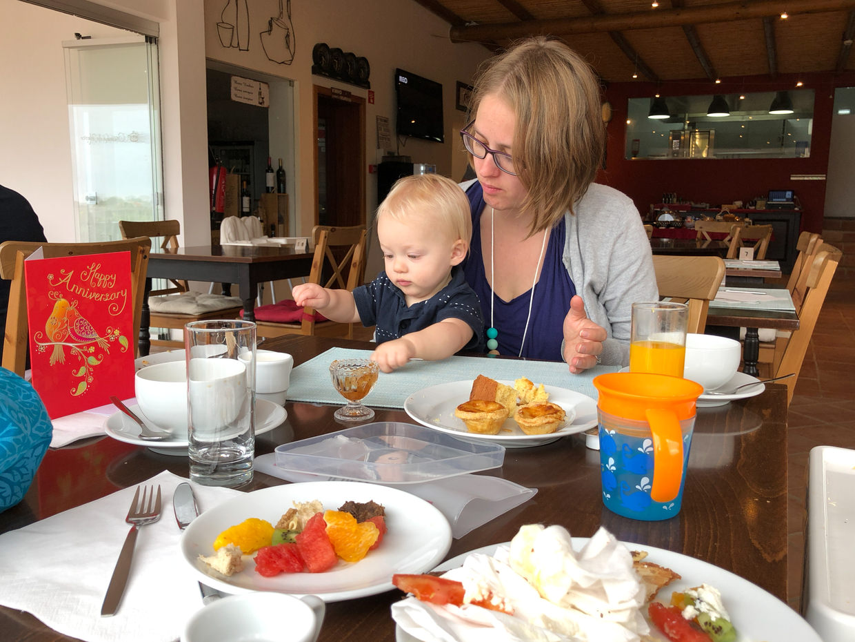 Samantha and Conway enjoying breakfast