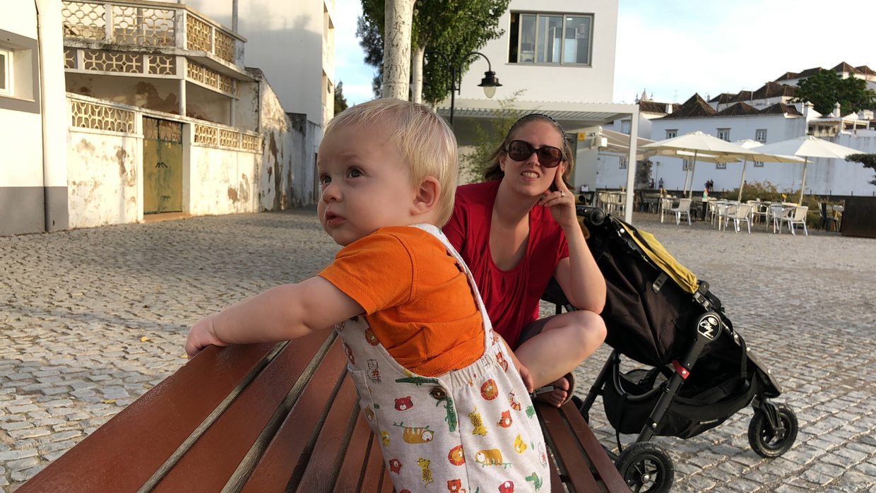 Conway enjoyed the benches in Tavira, he'd smile at everyone walking by