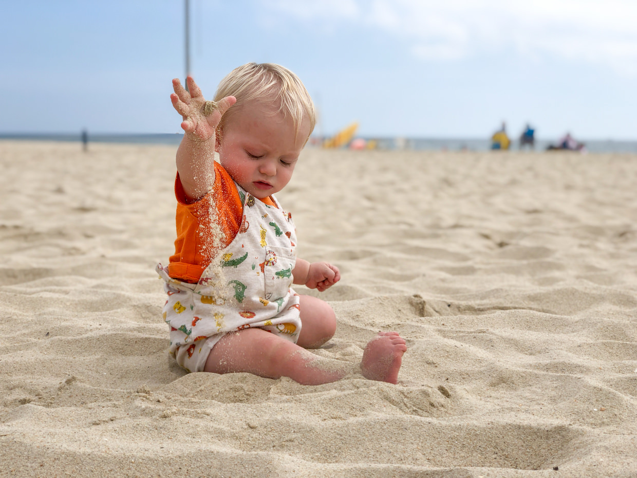 Conway playing with sand