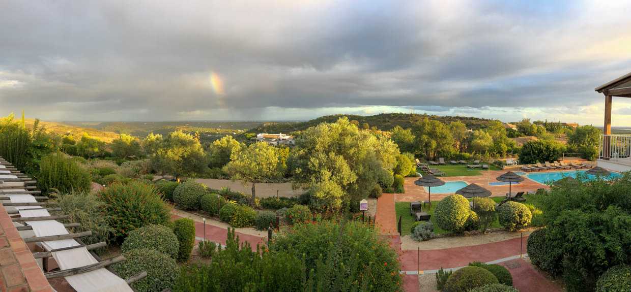 Panorama and rainbow – the view from our room