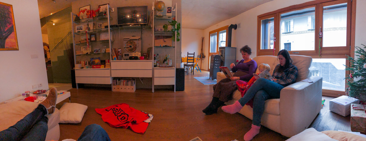Panorama of our downstairs living space