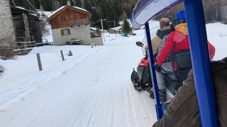 Speeding home on the snowmobile
