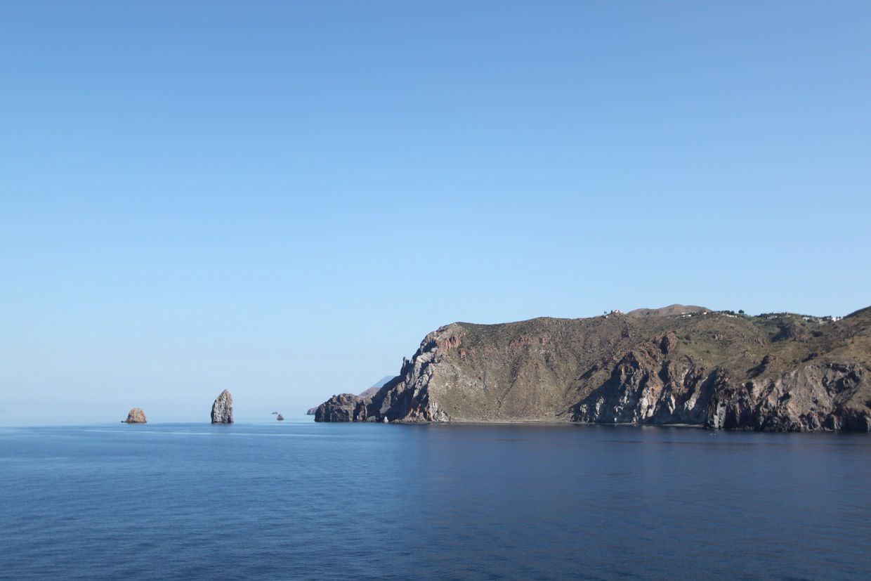 Perfectly blue view of Lipari from our breakfast table