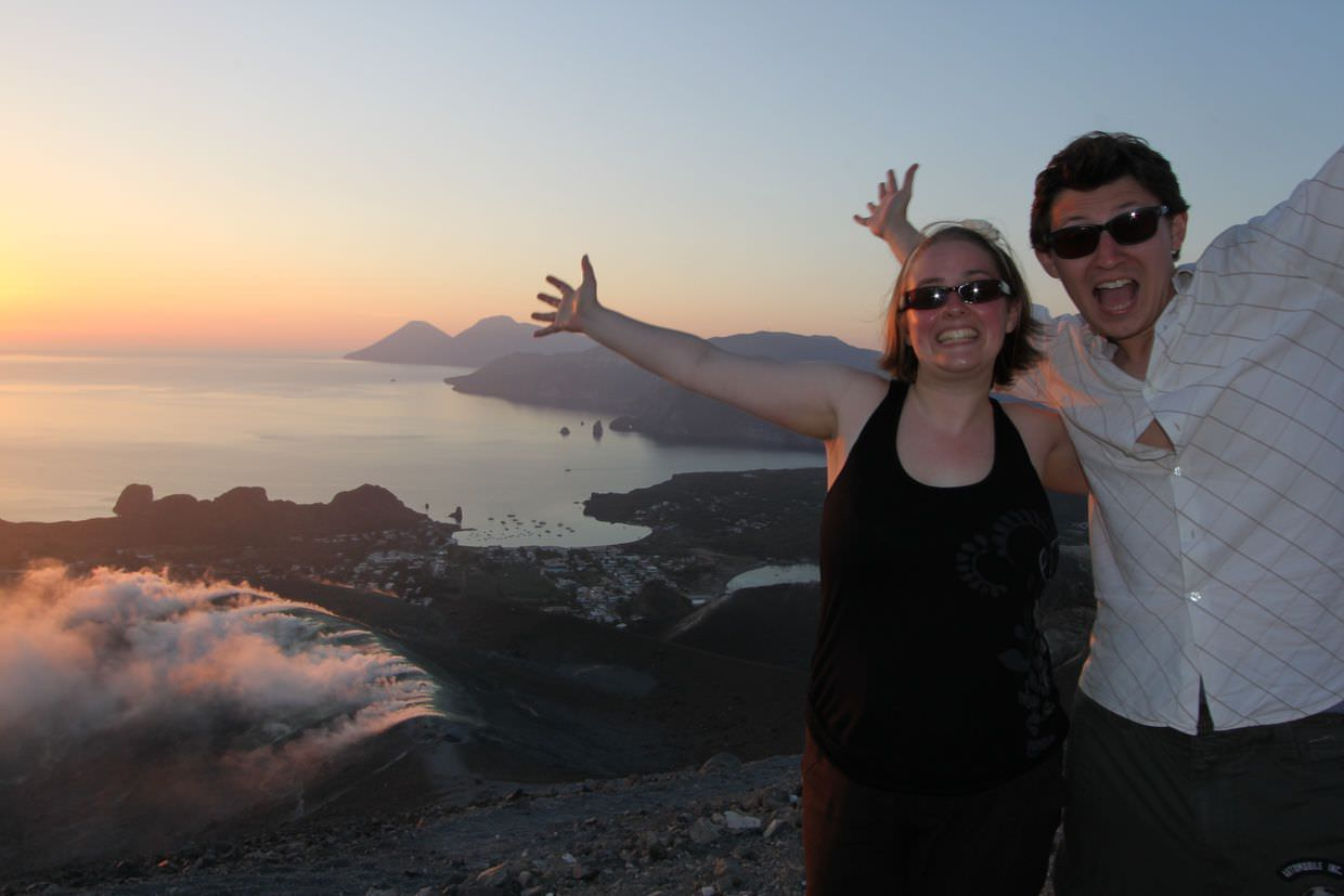 Samantha and Paul at the peak of Gran Cratere, for sunset