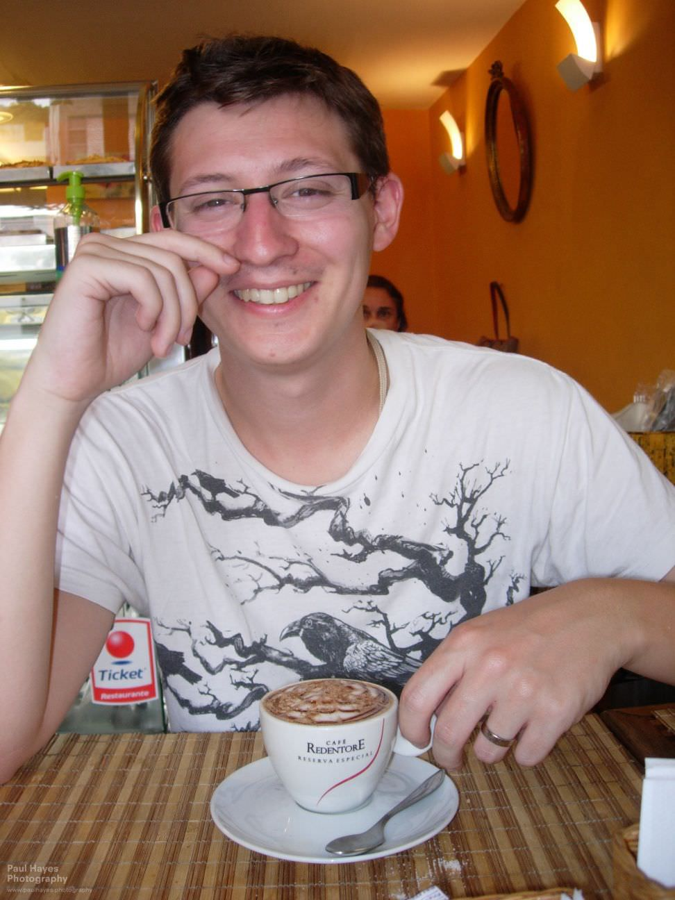 Less grumpy Paul with a cinnamon cappuccino