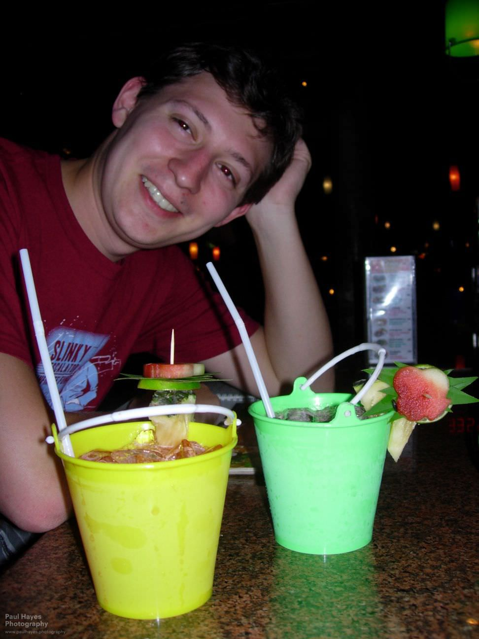 Cocktails in buckets at The Good View restaurant