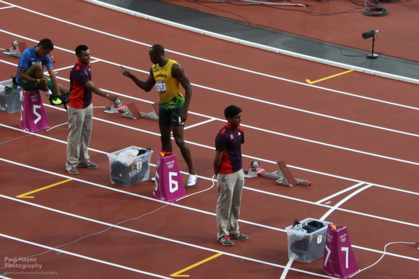 Usain Bolt being friendly with the volunteers