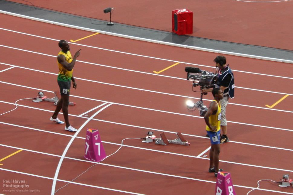 Bolt being introduced to the stadium